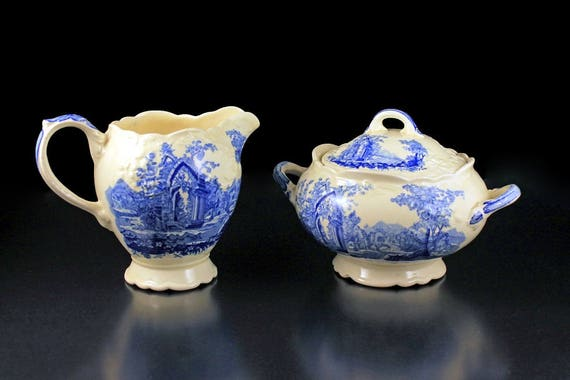 Sugar Bowl and Creamer, Taylor Smith & Taylor, English Abbey, Fairway, Embossed, Hard to Find, Blue and Cream Colored, Fine China,