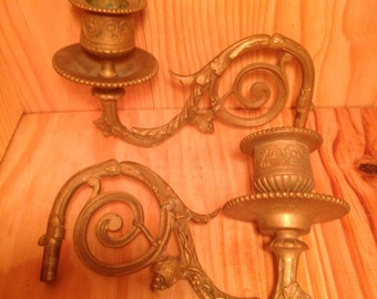 Ancient Bronze early 20th century brass Piano candle doors