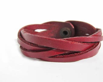 5 Braid Leather Plaited Bracelet 20mm