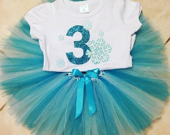 Girl's third birthday outfit, Third birthday shirt for girls, 3rd birthday, number 3 shirt, snowflake birthday outfit, 3rd birthday frozen
