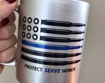 Police Thin Blue Line Bullet Flag 11oz ceramic coffee mug in white or silver shimmer