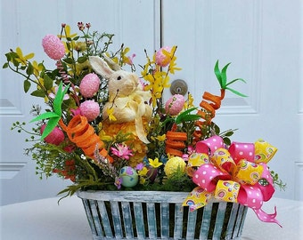 Easter Arrangement - Bunny Centerpiece - Easter Table Arrangement - Spring Floral Arrangement - Spring Table Arrangement - Easter Home Decor