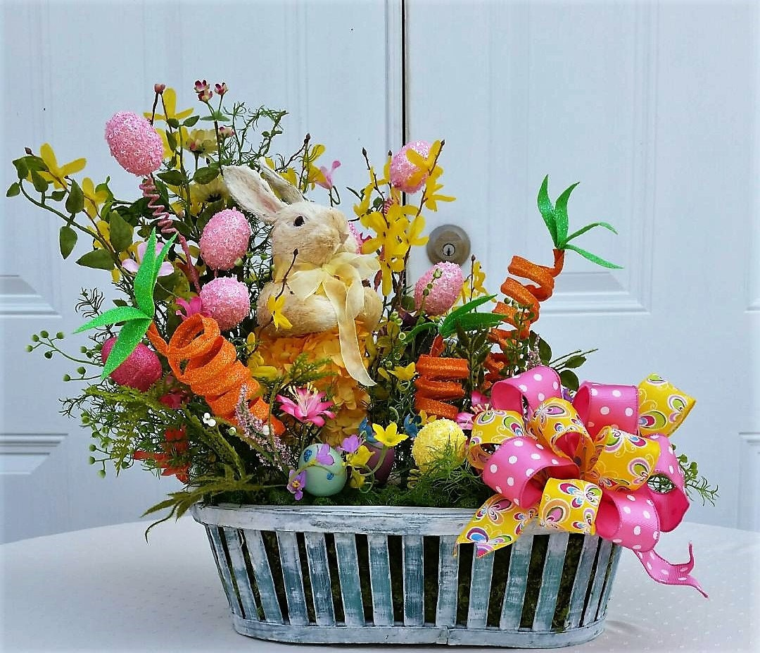 Easter arrangement bunny centerpiece table