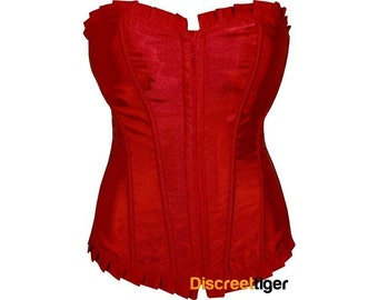 Red Corset With Ruffled Trim DTS00087