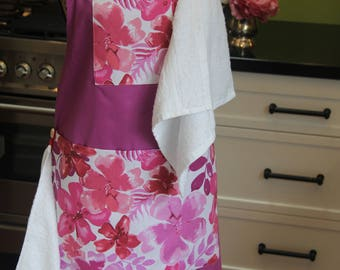 Baby shower gift! Handmade, one-of-a-kind, purple & pink floral cotton maternity apron with 2 white face washers, 2 pockets and 2 buttons.