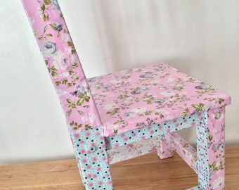 Small Children's Chair Decoupaged In A Pink, Blue and White Floral Design