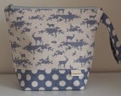 Linen & Blue Forest Large Project Pouch with Pink Spot Lining