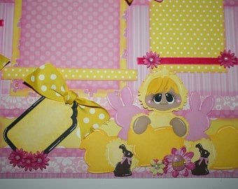 EASTER Me & My Peeps 2 Premade Scrapbook Pages 12x12 Paper Piecing Scrapbooking 4 Album Layout