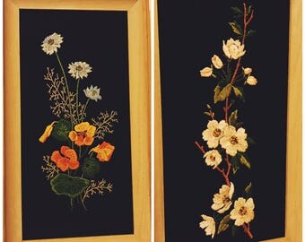 Gorgeous vintage crewel floral wall hangings (2) - black linen with white and orange flowers - handmade mid century embroidery