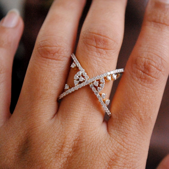 Criss Cross Diamond Ring X Ring Gap Broad 14K Gold Diamond