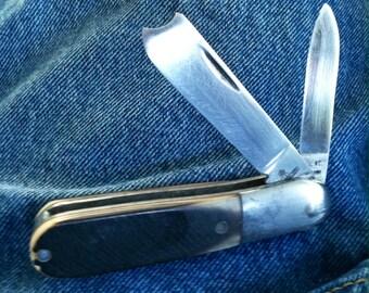 Queen Cut. Aluminum Frame 2 Blade Barlow Pocket Knife