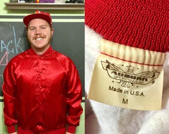 Vintage 1980s Blank Red Auburn Sportswear 100% Nylon M Jacket
