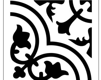 Reusable Laser-Cut Small to Medium Floor or Wall Qtr Tile Stencil #30