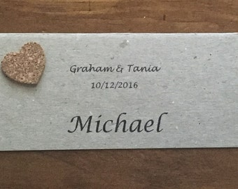 Flat Placecard with cork heart