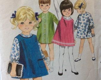 Butterick 3688 vintage 1960's girls A-line dress & jumper sewing pattern size 6