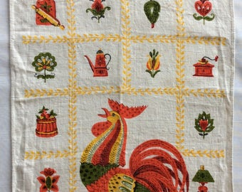 Parisian Prints rooster tea towel   Vintage.  Good condition
