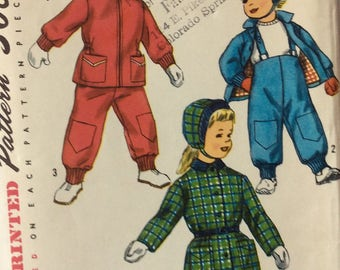 Simplicity 1787 childs jacket, pants and hat size 1 vintage 1950's sewing pattern  Uncut  Factory folds