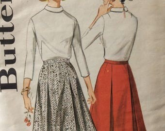 Butterick 3186 misses pleated skirt waist 30 vintage 1960's sewing pattern