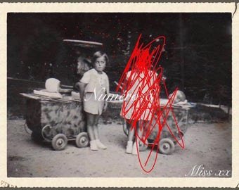 Photos vintage children, on children, customized revisited by #miss xx paper thick postcard. Card number 8
