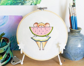 Embroidery Hoop Art - Watermelon Mouse