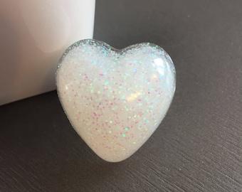 Large Opal Glitter Resin Heart Ring, Fashion Ring