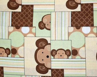 Green and Brown Monkey Fabric, Monkey Fabric, Baby Fabric, Quilting Fabric, Fabric, Fat Quarter, Fabric by the Yard, Quilts, Brown Fabric