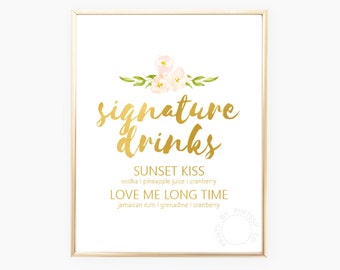 Signature Drinks, Bridal Shower, Gold Wedding Sign, Gold Wedding, Printable Wedding Sign, Floral Wedding Sign, Instant Download