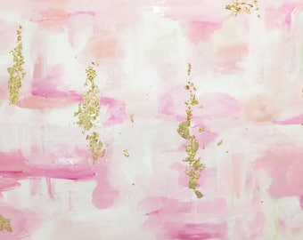 24x30 pinks and gold abstract painting with resin