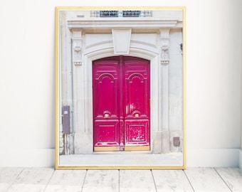 Paris Hot Pink Door, Paris Door Print, Magenta Door, Paris Photography, Paris Home Decor, Pink Door Print, Large Format Print, French Door