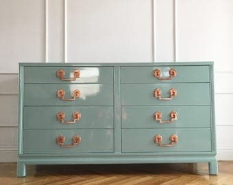 Custom Lacquered Landstrom Dresser with Copper Hardware