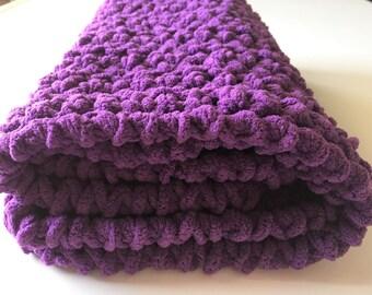 Purple Baby Blanket, Crochet Baby Blanket, Purple Blanket, Car Seat Blanket,  Gender Neutral, Handmade Blanket, Ready to Ship, Free Shipping