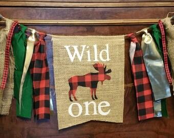 Custom Animal, Wild One, Woodland Lumberjack Banner, First Birthday Boy, 1 Year Party Decor, 1st Birthday Backdrop, Birthday Banner Moose