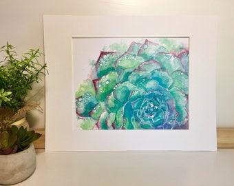 Watercolor succulent Print