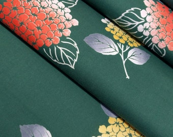 Green cotton yukata fabric with hydrangea flower pattern  - by the yard