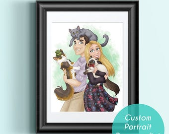 Familly, Custom digital familly portrait, digital illustration,  decoration birthday frame card gift