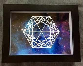 Geometric Papercut, Framed