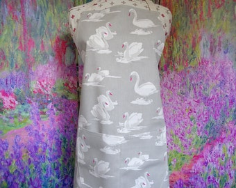 Swan Apron with pocket , Adjustable Neck Strap. With or Without Hand Embroidered Name