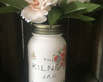 Handfinished Special Edition Kilner Jar Decopaged With Cath Kidston Floral Tissue- Cranham Rose