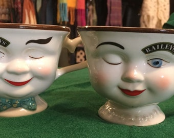 Bailey's pair of winking ceramic cups barware collectible barware