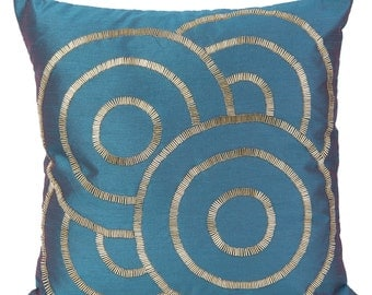 Teal Decorative Pillow Cover Teal Geometrical Pillow Cover Teal Gold Accent Pillow 14x14 16x16 18x18 20x20