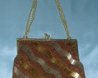 Vintage Regale Gold Tone / Chain Handle Beaded Purse