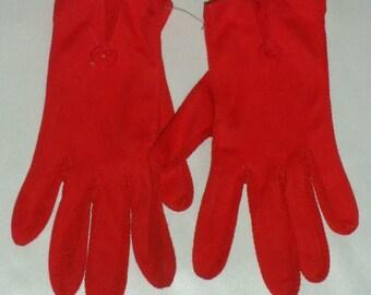 Vintage Vivid Red Nylon Driving Gloves S M