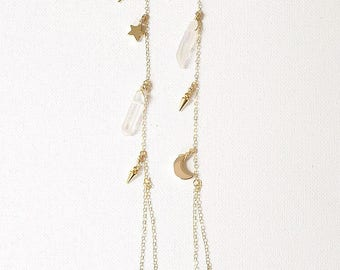 The Zoe Shoulder Dusters, moon and star dangle earrings