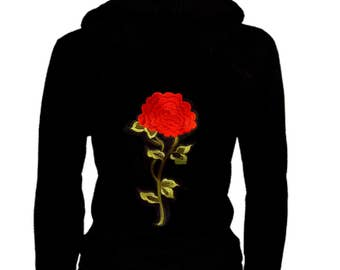 Cute Junior Size Thin Zip Up Hoodie Roses Patched Sweater w/ Kangaroo Pockets S~3XL Stretch