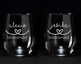 3 Personalized Will You Be My Bridesmaid Glasses, Personalized Bridesmaid Proposal, Personalized Wine Glasses, Bridesmaid Proposal, Set of 3