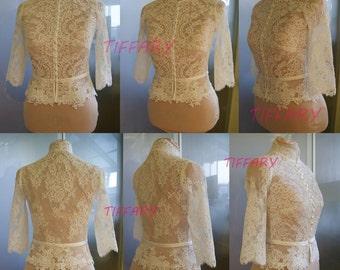 Amazing wedding bolero,top,jacket of lace, long or  3/4 or short sleeve , front of a full, alencon . Romance, bridal bolero MISSY