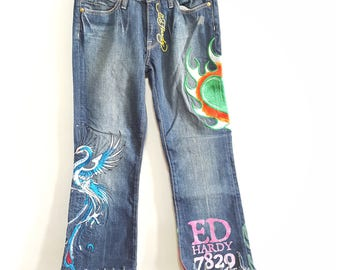 Vintage Ed Hardy Melrose Fringe Jeans, Womens,  Denim, Vintage Jeans, Fringe, Patches, 90s, 90s jeans, Womens jeans, Embroidery,  Handmade