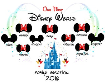 Disney World/Land 'Our First' 'Family Vacation 2017/2018' PERSONALISED T-Shirt Transfer