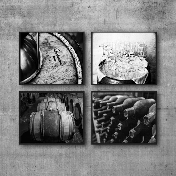 Black And White Wine Wall Decor : Black and white wine prints photos dining room wall