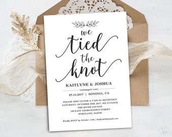 Elopement Reception Invitation Template, Printable Elopement Announcment, INSTANT DOWNLOAD, Editable Text, Modern Calligraphy, The Knot VW10